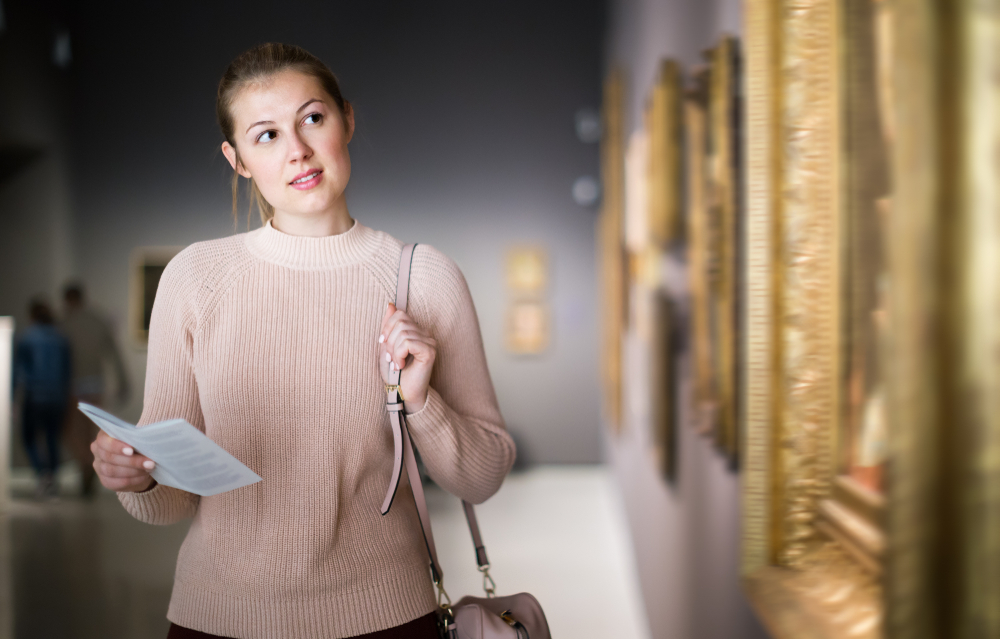 a woman in a museum